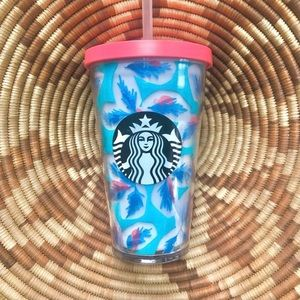 STARBUCKS Tropical Cold Feather Tumbler Teal Coral